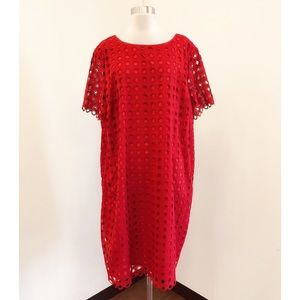 Talbots Plus Size 20w Red Lace Overlay Dress